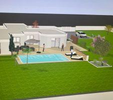 Pour bien imaginer la piscine dans son environnement , la voici tel que nous la voulons grâce au logiciel d archi KK .  La piscine et sa plage finie d?un muret sont à créer , le reste est déjà présent ( maison et végétation )