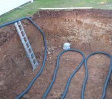 Pose du drainage au fond