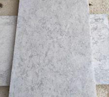 Pour les margelles, nous avons choisi une pierre calcaire gris/bleue : le Royal Grey en dimensions 61 x 33 et 2,5 cm d'épaisseur.
