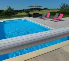 Ensemble piscine et plage terrasse terminées