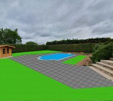 1ER GET DE LA FUTUR DECO, terrasse grès cérame de 0.60 x 0.60 x 0.20 + une partie en pelouse artificielle cote droit de la piscine face a l'escalier, et tous le reste en pelouse naturel