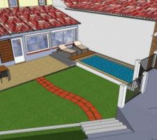 Plan 3d du projet (piscine + terrasse + coin barbeuk/plancha)