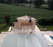 Poursuite montage du toit, début montage de l'appentis