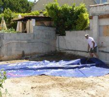 Positionnement de la bache representant la piscine