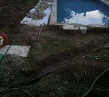 Un petit rappel du passage des tuyaux et cables, ça peut servir. Le couvercle vert en bas à gauche abrite la pompe et le filtre à sable.
