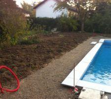 Le jardin est retourné pour engazonner au printemps prochain