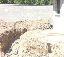 Tranchée pour amener les tuyaux au sous sol en contournant la maison