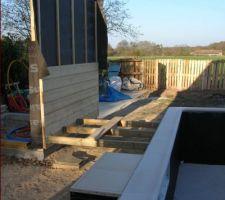 Demarrage du local technique et pose de mes lambourde pour terrasse bois