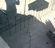 Préparation / ferraillage / escalier intérieur et plage intérieure -