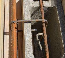 Détail ferraillage arase pour débord de 10cm