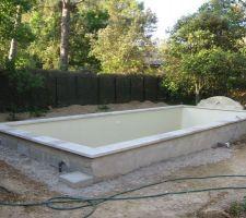 Les abords de la piscine sont réalisés par nos soins ,le chantier étant encore arrêté. Nous sommes à la recherche d'un maçon pour la jardinière qui fait partie intégrante du projet et doit servir de support à la terrasse bois (le maçon de Bleam's Piscines nous avait promis de la réaliser dès le début du chantier, nous attendons toujours!)