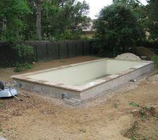 10 Juin, nous attendons toujours la finalisation de notre chantier. L'excavation ,creusée en novembre pour la jardinière maçonnée, s'est remplie de terre