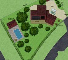 Plan du terrain (pas d'arbres ni de terrasses pour le moment).