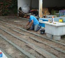 Fabrication rail beton  pour pose lambourdes bois