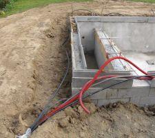 Terrassement des terrasses et caniveaux passage des différents cables et tuyaux