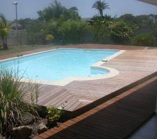 La piscine plaisir et son deck en Ebène vert