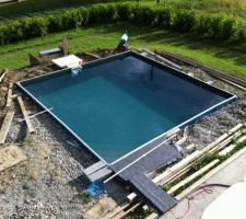 Piscine carree aquadiscount 5x5 liner gris anthracite for Piscine 5x5