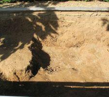 Situation à - 105 cm après découverte de la roche calcaire