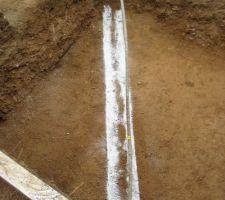Traçage du caniveau pour la conduite de gaz
